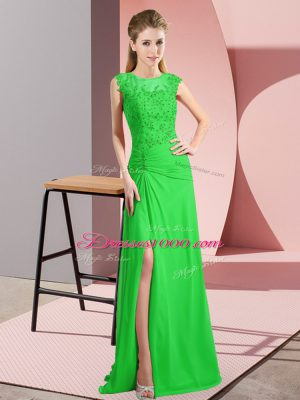 Best Selling Column/Sheath Prom Party Dress Green Scoop Chiffon Sleeveless Floor Length Lace Up
