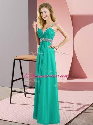 Fancy Turquoise Straps Neckline Beading Prom Dress Sleeveless Criss Cross