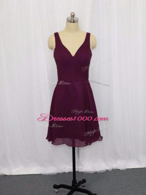 Mini Length Dark Purple Homecoming Dress V-neck Sleeveless Zipper