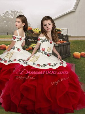 Organza Straps Sleeveless Lace Up Embroidery and Ruffles Child Pageant Dress in Red