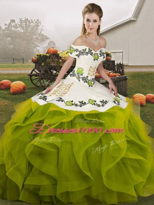 Suitable Olive Green Off The Shoulder Neckline Embroidery and Ruffles Quince Ball Gowns Sleeveless Lace Up