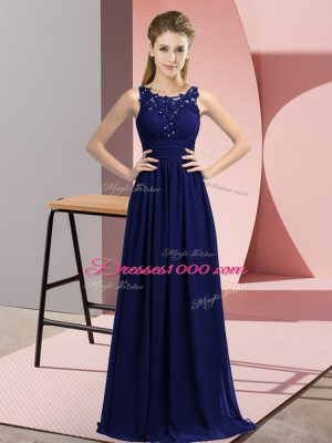 Navy Blue Zipper Scoop Beading and Appliques Dama Dress for Quinceanera Chiffon Sleeveless
