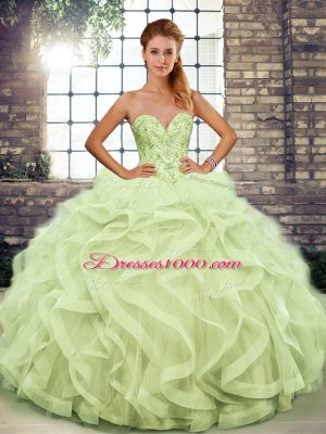Luxury Yellow Green Sweetheart Lace Up Beading and Ruffles Quince Ball Gowns Sleeveless