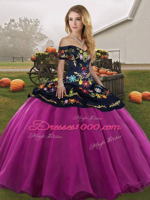 Fancy Fuchsia Off The Shoulder Neckline Embroidery Sweet 16 Quinceanera Dress Sleeveless Lace Up