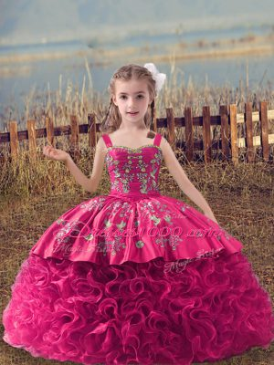 Ball Gowns Sleeveless Hot Pink Party Dress for Girls Sweep Train Lace Up
