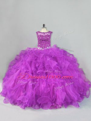 Admirable Floor Length Lace Up Quinceanera Gowns Purple for Sweet 16 and Quinceanera with Beading and Ruffles