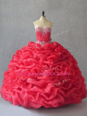 Sleeveless Floor Length Beading and Pick Ups Lace Up Quinceanera Dress with Coral Red