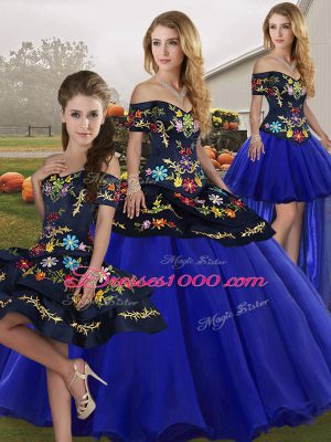 Royal Blue Off The Shoulder Lace Up Embroidery 15 Quinceanera Dress Sleeveless