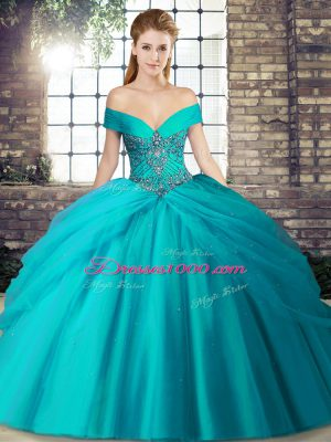 Luxury Teal Off The Shoulder Lace Up Beading and Pick Ups Quinceanera Dress Brush Train Sleeveless