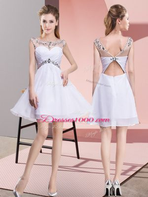 White Scoop Backless Beading Homecoming Dress Online Sleeveless