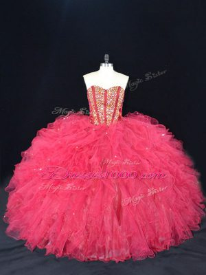 Top Selling Sweetheart Sleeveless Lace Up Ball Gown Prom Dress Coral Red Tulle