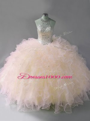 Low Price Pink Sleeveless Tulle Lace Up Quinceanera Dress for Sweet 16 and Quinceanera
