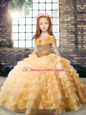Best Orange Straps Neckline Beading and Ruffled Layers Pageant Dress for Teens Sleeveless Lace Up