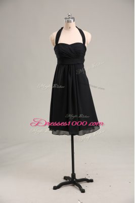 Dramatic Sleeveless Chiffon Mini Length Zipper Homecoming Dress in Black with Ruching