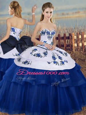 Royal Blue Tulle Lace Up Sweet 16 Dresses Sleeveless Floor Length Embroidery and Bowknot
