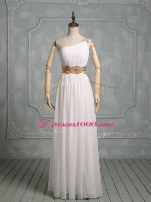 Pretty Chiffon Halter Top Sleeveless Side Zipper Beading and Ruching Prom Dress in White