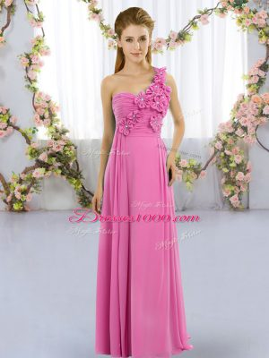Gorgeous Sleeveless Hand Made Flower Lace Up Quinceanera Dama Dress