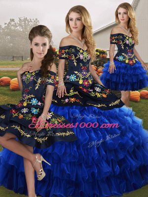 Super Blue And Black Ball Gowns Organza Off The Shoulder Sleeveless Embroidery and Ruffled Layers Floor Length Lace Up Sweet 16 Quinceanera Dress