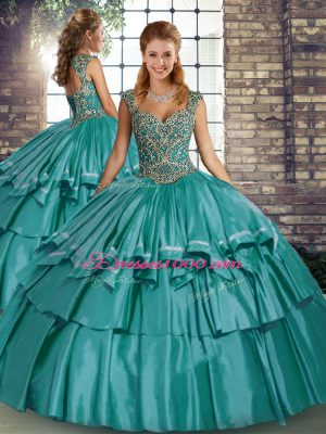 Teal Lace Up Straps Beading and Ruffled Layers 15 Quinceanera Dress Taffeta Sleeveless