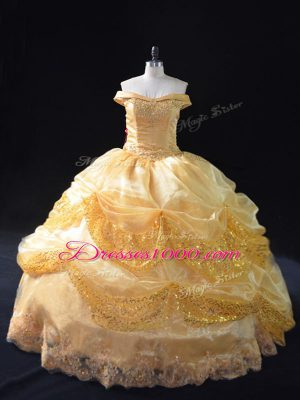 Nice Organza Off The Shoulder Sleeveless Lace Up Beading and Pick Ups Ball Gown Prom Dress in Gold