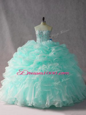 Elegant Apple Green Sweet 16 Quinceanera Dress Organza Brush Train Sleeveless Beading and Ruffles and Pick Ups