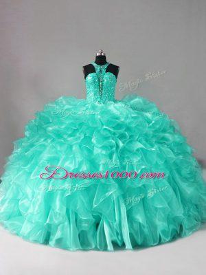 Organza Halter Top Sleeveless Brush Train Zipper Beading and Ruffles 15th Birthday Dress in Aqua Blue