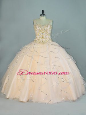 Champagne Sleeveless Beading and Ruffles Floor Length 15th Birthday Dress