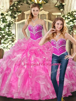 Popular Lace Up Sweet 16 Quinceanera Dress Rose Pink for Sweet 16 and Quinceanera with Beading and Ruffles
