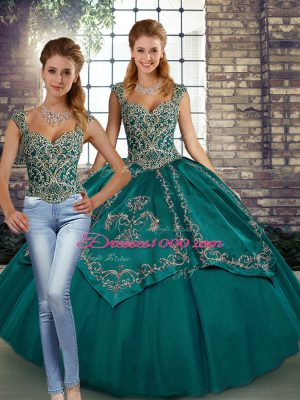 Dramatic Floor Length Teal Quince Ball Gowns Straps Sleeveless Lace Up