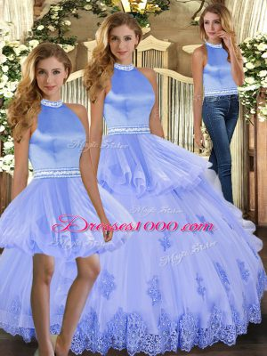 Custom Designed Tulle Sleeveless Floor Length 15 Quinceanera Dress and Beading and Appliques