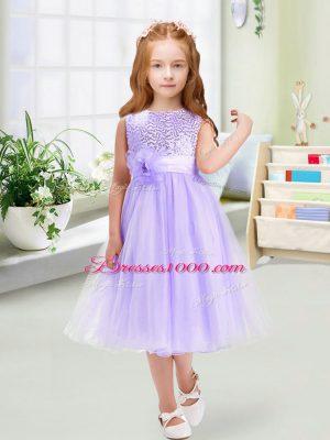 Custom Design Scoop Sleeveless Flower Girl Dresses for Less Tea Length Sequins and Hand Made Flower Lavender Organza