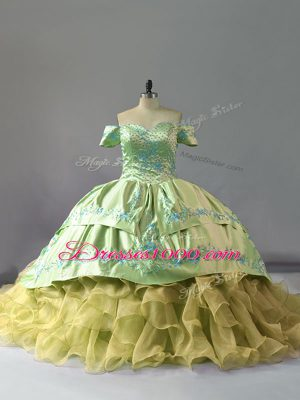 Ball Gowns Sleeveless Yellow Green Quinceanera Gown Chapel Train Lace Up