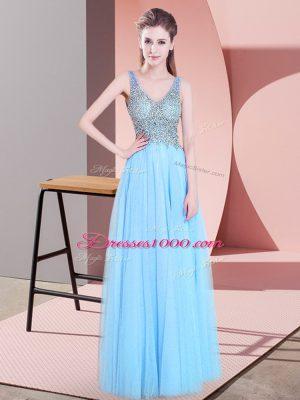 Edgy V-neck Sleeveless Tulle Prom Gown Beading Zipper