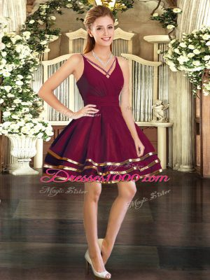 Edgy Burgundy Long Sleeves Ruffled Layers Mini Length Cocktail Dresses
