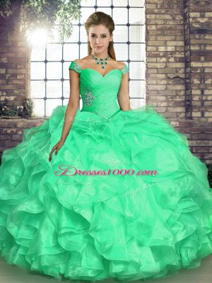 Romantic Floor Length Ball Gowns Sleeveless Turquoise Quinceanera Dress Lace Up
