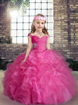 Hot Pink Sleeveless Floor Length Beading and Ruffles Lace Up Womens Party Dresses
