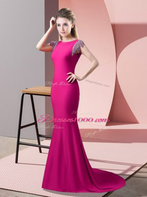 Fitting Short Sleeves Elastic Woven Satin Brush Train Backless Prom Party Dress in Hot Pink with Beading