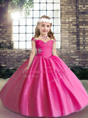 Discount Hot Pink Straps Neckline Beading Pageant Gowns For Girls Sleeveless Lace Up