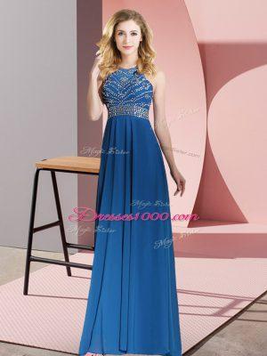 Excellent Royal Blue Sleeveless Floor Length Beading Backless Dress for Prom
