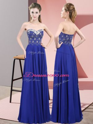 Sweetheart Sleeveless Zipper Junior Homecoming Dress Royal Blue Chiffon