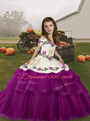 New Style Straps Sleeveless Lace Up Child Pageant Dress Purple Tulle