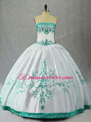 Modest White Sleeveless Floor Length Embroidery Lace Up Quince Ball Gowns