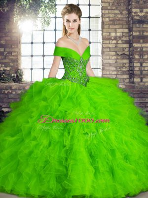 Green Ball Gowns Off The Shoulder Sleeveless Tulle Floor Length Lace Up Beading and Ruffles Quinceanera Dresses