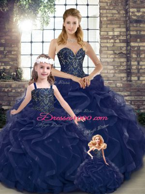 Glorious Navy Blue Sweetheart Lace Up Beading and Ruffles Quinceanera Gowns Sleeveless