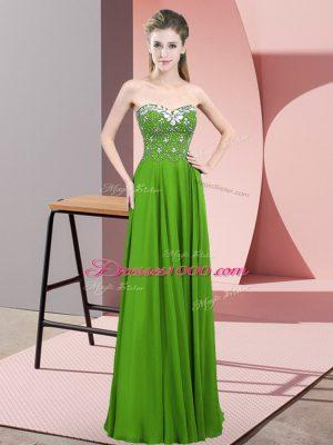 Beautiful Green Empire Sweetheart Sleeveless Chiffon Floor Length Zipper Beading Dress for Prom