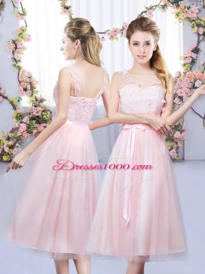 Baby Pink Sleeveless Lace and Belt Tea Length Court Dresses for Sweet 16
