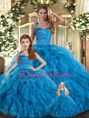Blue Tulle Lace Up Quinceanera Dresses Sleeveless Floor Length Ruffles