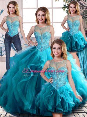 Floor Length Aqua Blue Vestidos de Quinceanera Scoop Sleeveless Lace Up