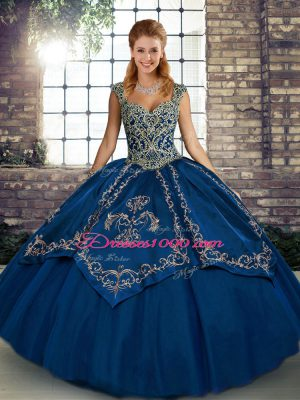 Eye-catching Ball Gowns Ball Gown Prom Dress Blue Straps Tulle Sleeveless Floor Length Lace Up