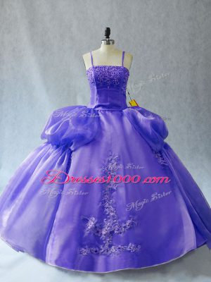 Sleeveless Floor Length Appliques Lace Up Ball Gown Prom Dress with Lavender